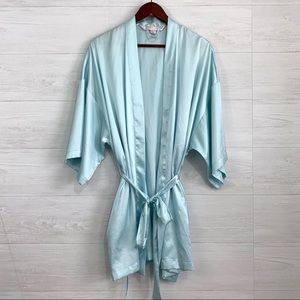 Victorias Secret OS Powder Blue Satin Short Robe